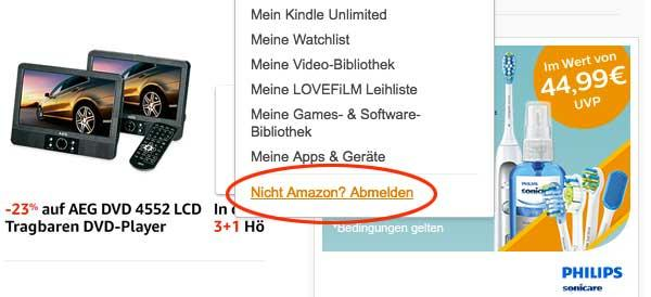 Amazon-Logout Verwirrung